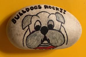 This Bulldog, the first rock I've painted, went with me on the Community Bus Tour