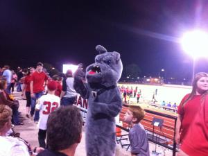 Bowzer, the Bulldog's Mascot, at a football game.