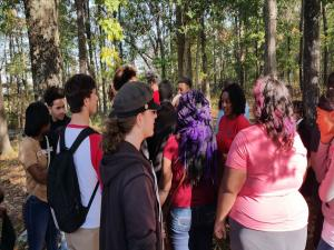 Civil War Class 2016 Field trip to Parkers Crossroads.  Students listening to the story of the Union soldier still buried on the battlefield
