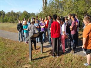 Civil War Class 2016 Field trip to Parkers Crossroads.  Students listening to how Union forces were surrounded, and then how Union forces surrounded the Confederate forces