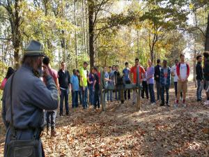 Civil War Class 2016 Field trip to Parkers Crossroads.  Students listening to how Confederate cannons at this location forced Union forces to retreat from a splitrail fence