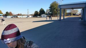 One of Key Clubs service projects, painting the VFW parking lot