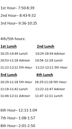 Bell Schedule Image