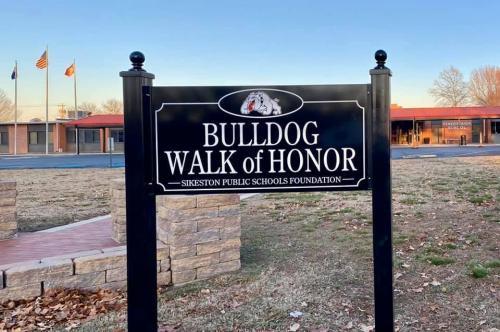 Bulldog walk of honor sign