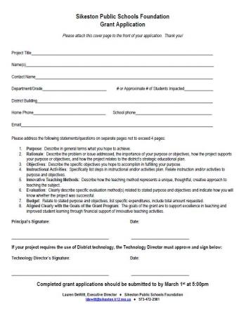 Screenshot of Classroom Grant Application