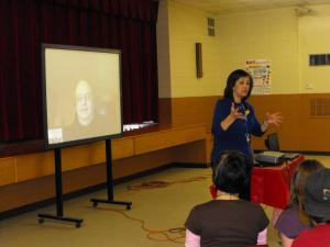 Mrs. Muse introduces author Roland Smith who visited with students and parents via SKYPE.