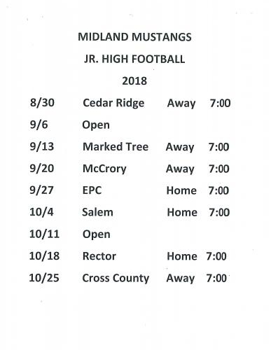 JR Varsity Football Schedule