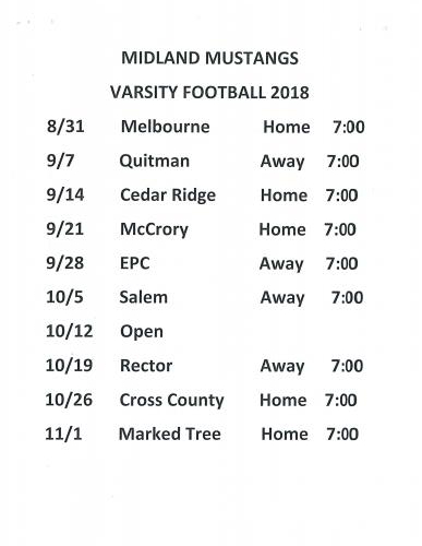 Varsity Football Schedule