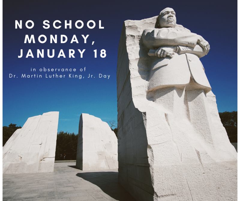 No School Monday, January 18