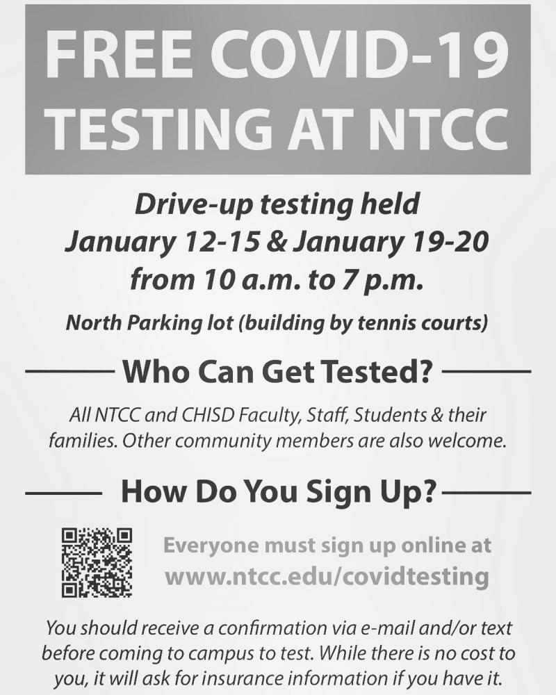 Free COVID testing at NTCC