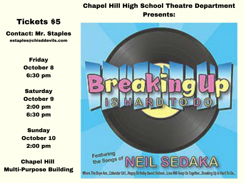 Breaking up is Hard to Do: The Musical- Tickets on Sale Now!