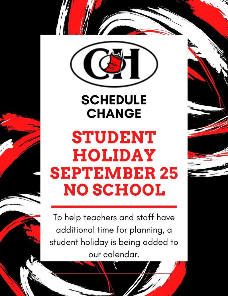 Student Holiday- Friday, September 25