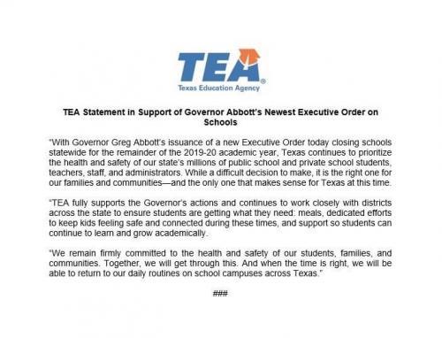 TEA Release on School Closure April 17