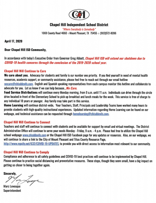 District Letter- English