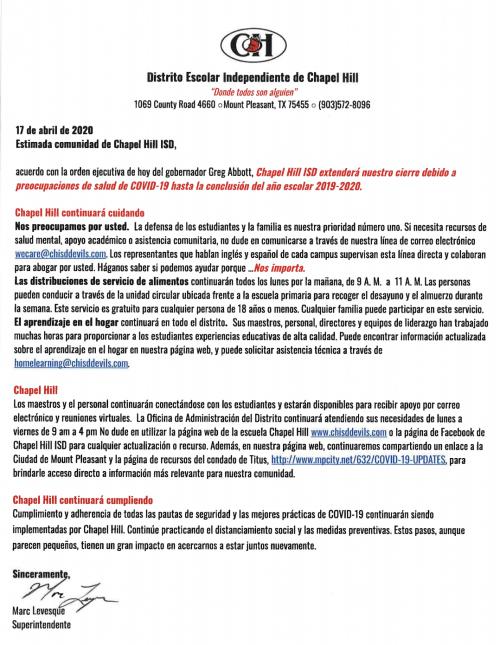 District Letter- Spanish