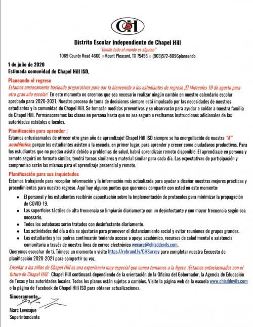 7-1-2020 Spanish Letter