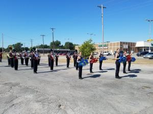 Konawa Band and T-Steppers getting ready for the parade at this year's Pauls Valley Marching Championships!