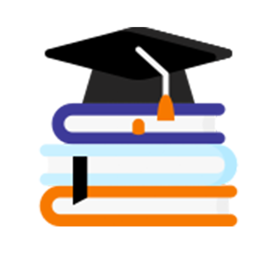 black and orange colored icon of three books stacked with a graduation cap on top
