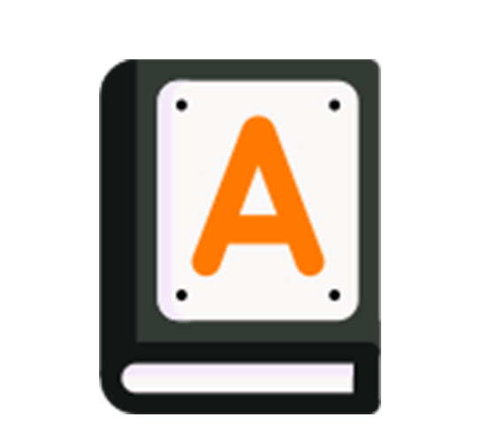 black and orange colored icon of a book with a large letter
