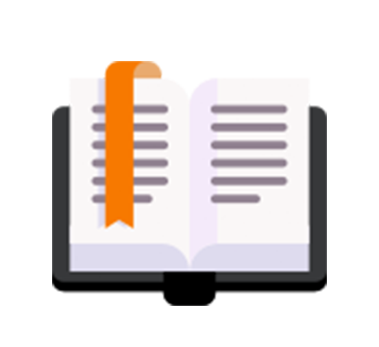 black and orange colored icon of an open book with an orange bookmark