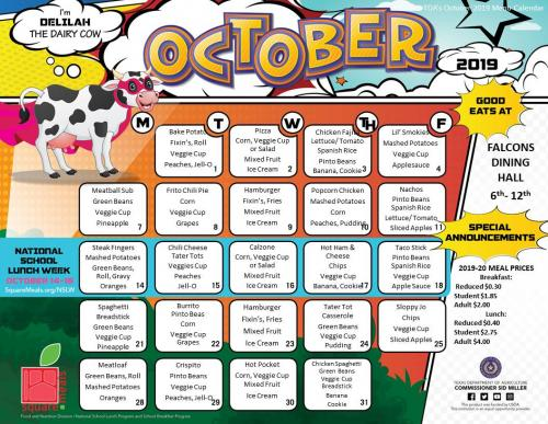 October Jr High and High School Lunch Menu