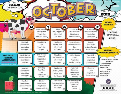 October Elementary Lunch Menu