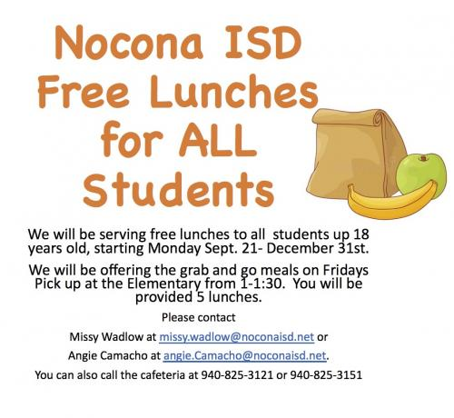 Free Lunches all school aged children Sept 21 - Dec 30