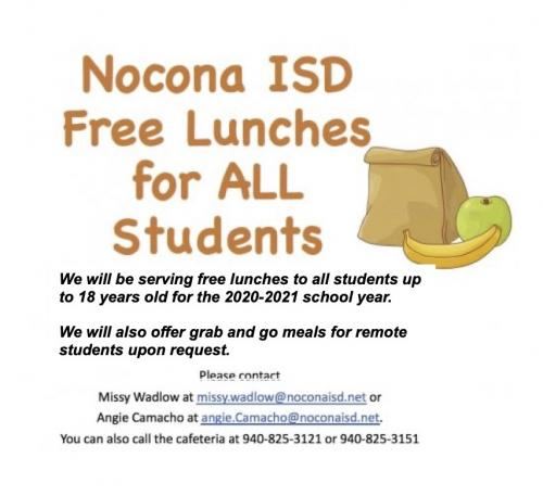 Free Lunches all school aged children Sept 21 - end of school year
