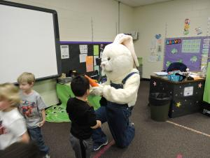 bunny helping kids