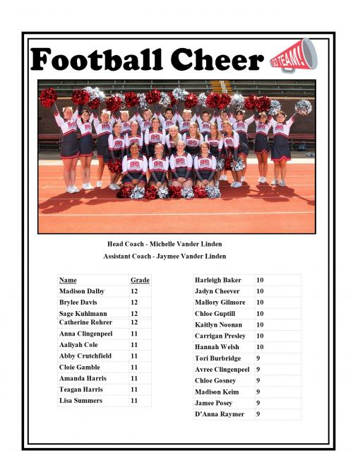 FOOTBALL CHEER ROSTER