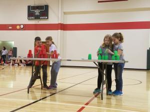 Landon and Alexa vs Mackenzie and Kiara in the championship round of partner stacking. Landon and Alexa were the eventual champions.