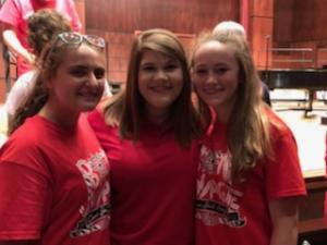 Allyson Wade, Ms. Hoover, and Anna Claire Tracy post Choir Camp concert