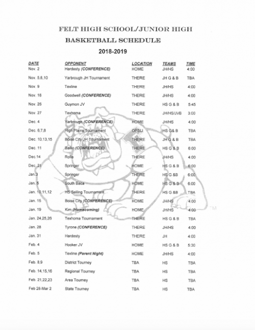 2018-2019 JH/HS Basketball Schedule