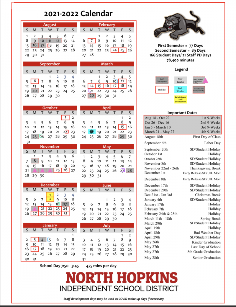 2021 - 2022 District Calendar (Revised 4/27/2021)