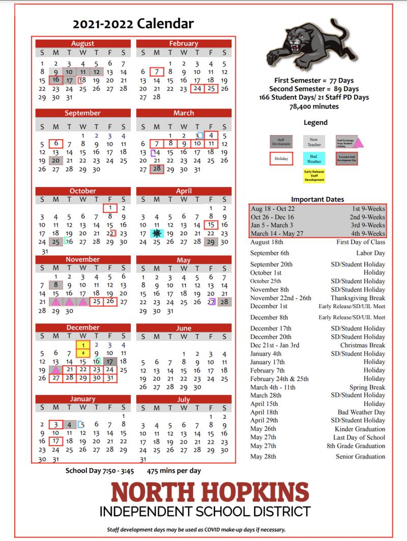 2021 - 2022 District Calendar
