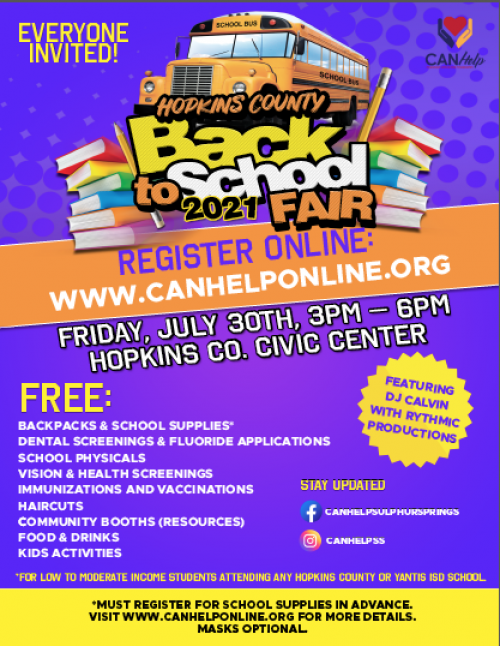 CANHelp Back to School Bash Flyer visit www.canhelponline.org for more info.