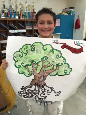 Awesome art workon his family tree!  So proud of how hard they all worked!