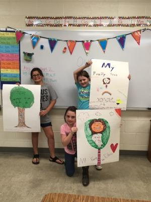5th graders with their GT Family Trees!