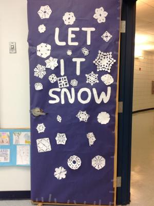 Our 5th grade homeroom entry in the Christmas door decorating contest