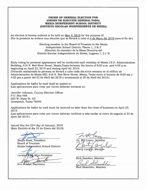 Order of Election May 2019