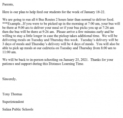 Covid-19 Letter to Parents on Food Delivery during Jan 18-22