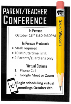 Parent / Teacher Conference October 13, 2020 3:30-9:30PM