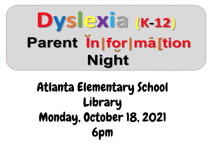 Dyslexia Parent Information Night - October 18, 2021