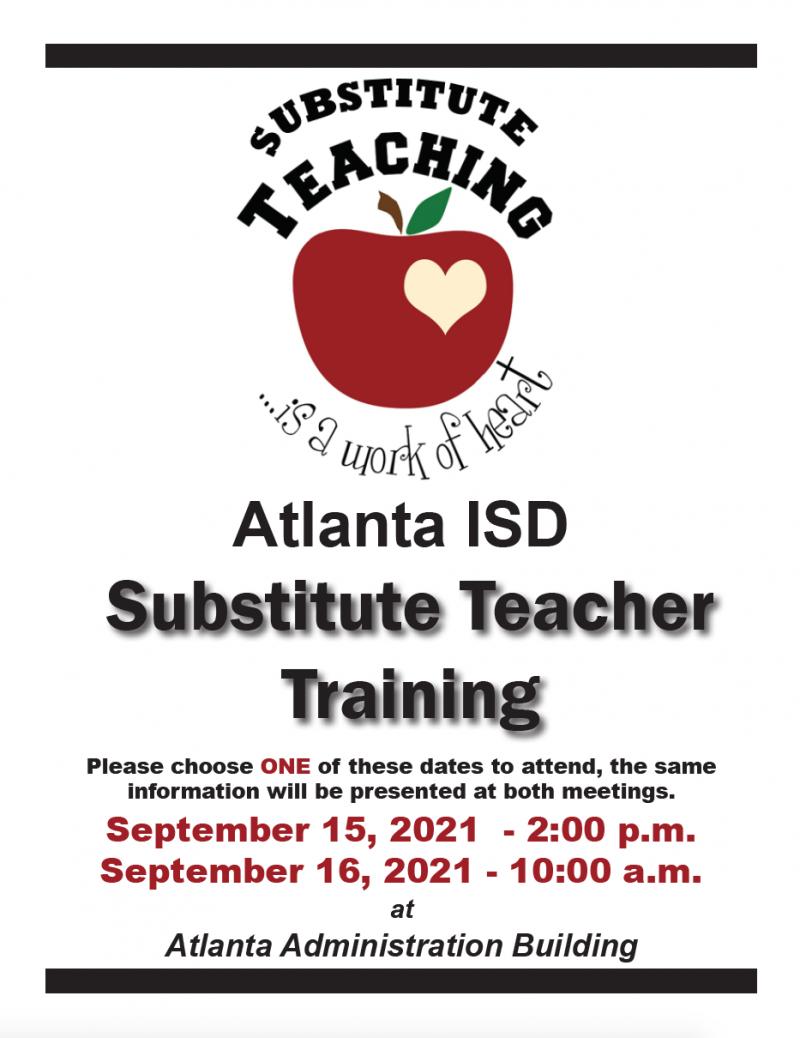 Substitute Teacher Training - September, 2021