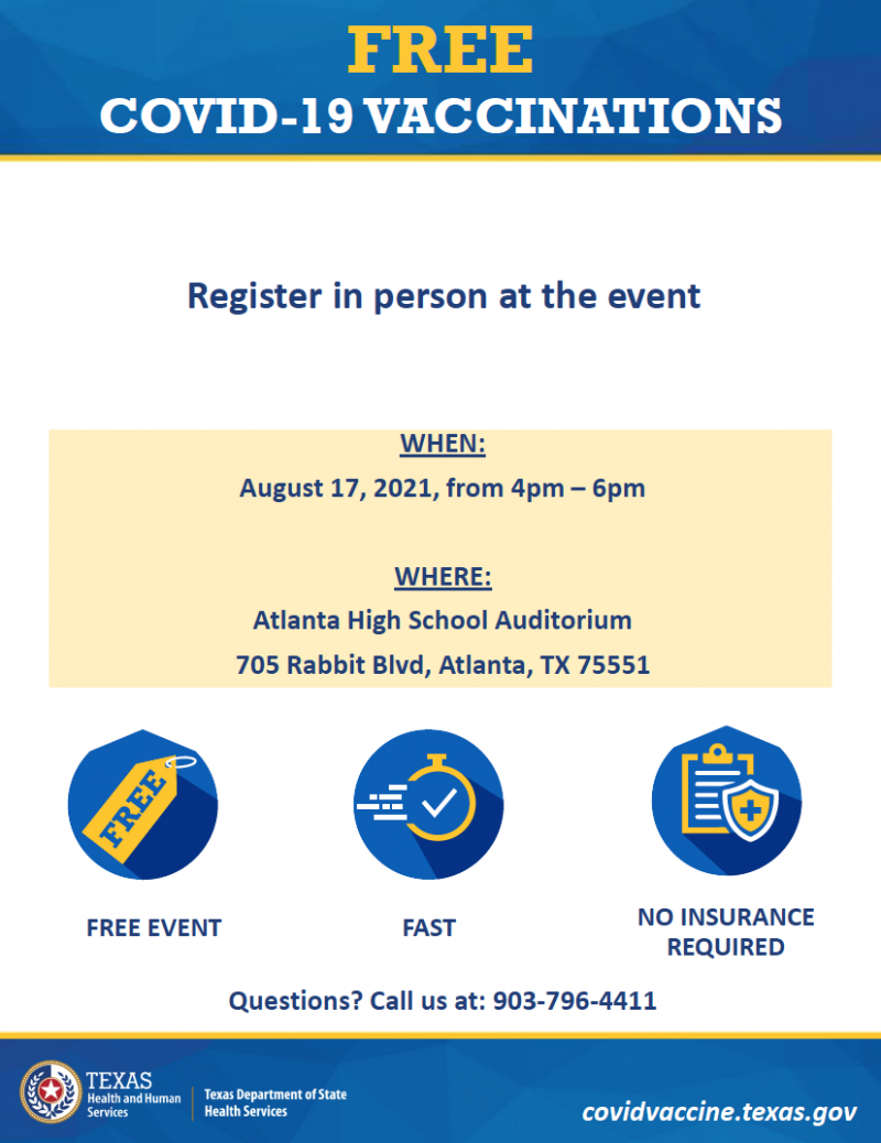 Free COVID-19 Vaccinations - August 17