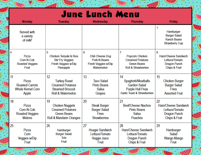 June Lunch Menu