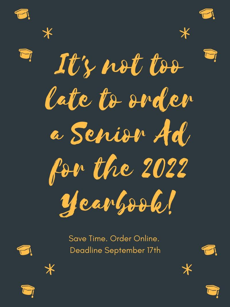 Order Your Senior Ad for 2022 Yearbook
