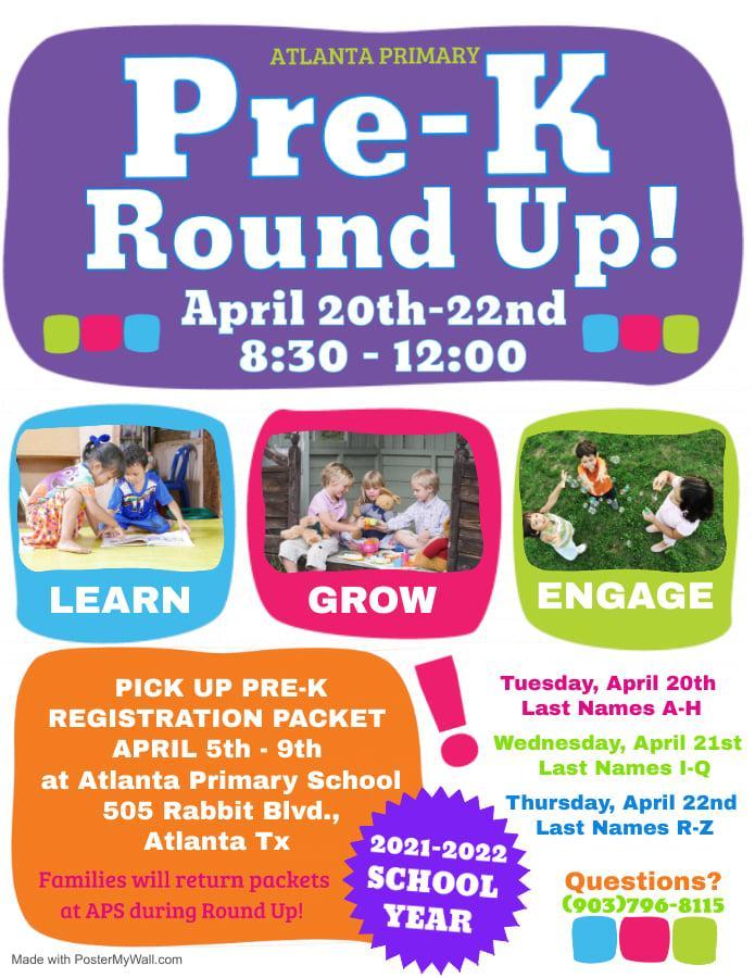 Pre-K Round Up - April 20-22