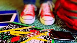 shoes, pencils and notebooks