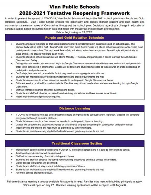 2021 School Reopening Framework